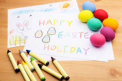 Children drawing and ester egg Stock Photo