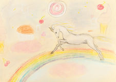 Children drawing - fairy unicorn on rainbow Royalty Free Stock Images