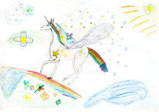 Children drawing - fairytale unicorn Royalty Free Stock Photo