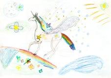 Children drawing - fairytale unicorn. Children drawing - flying fairytale unicorn on rainbow Royalty Free Stock Photo
