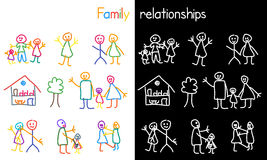 Children drawing family relationship. Colorful drawing by children hand about love, punishment and abuse in family Stock Photography
