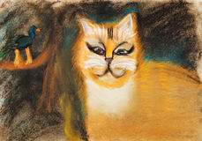 Children drawing - fat red cat Royalty Free Stock Image