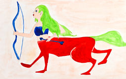Children drawing - female centaur Stock Image
