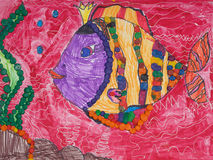 Children drawing of fish Royalty Free Stock Photos