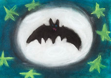 Children drawing - flying night bat Royalty Free Stock Photo