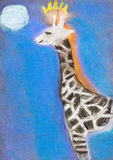 Children drawing - giraffe in blue night Stock Photo