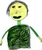 Children drawing of grandmother with felt-tip royalty free stock images
