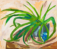Children drawing - green leaves of indoor plant. Children drawing - long green leaves of indoor plant Stock Photography