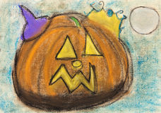 Children drawing - halloween pumpkin. Children drawing - yellow carved halloween pumpkin vector illustration