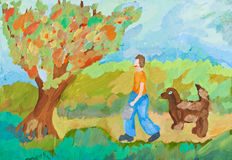 Children drawing - harvest in apple orchard Royalty Free Stock Images