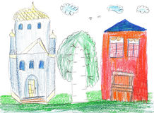 Children drawing. House, trees and church Royalty Free Stock Photos