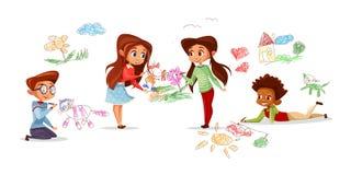 Children drawing illustration vector illustration