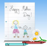 Children drawing for mothers day Royalty Free Stock Image