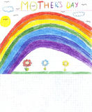 Children drawing mothers day Stock Images