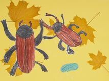 Children drawing multicolored beetles Stock Photography