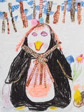 Children drawing multicolored penguin Stock Photos