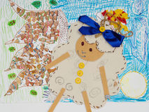 Children drawing multicolored of sheep Royalty Free Stock Photo