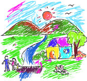 Children drawing multicolored symbols family Royalty Free Stock Photography