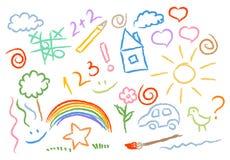 Children drawing multicolored symbols set Royalty Free Stock Image