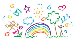 Children drawing multicolored symbols vector set Royalty Free Stock Photos