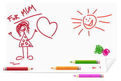 Children drawing for mum Royalty Free Stock Images