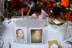 Children drawing national heroes Stock Image
