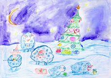 Children drawing. New Year landscape. Children drawing. Winter night landscape. A group of white rams on a snow-covered field against a blue sky. Neat Christmas royalty free stock photo