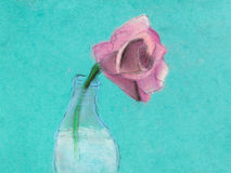 Children drawing - one pink rose flower in bottle Royalty Free Stock Photo