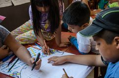 Children drawing and painting royalty free stock photo
