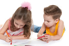 Children drawing on paper Stock Photo