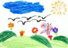 Children drawing on paper - birds fly on the south Stock Photos