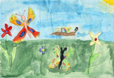 Children drawing on a paper - butterflys Stock Photography