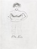 Children drawing - portrait of big woman by pencil Stock Photo