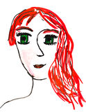 Children drawing - portrait of young woman Stock Image