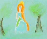 Children drawing - princess in forest Stock Images