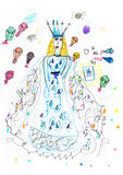 Children drawing - queen and parachutes with gifts Stock Photo