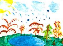 Children drawing - rain and lake Royalty Free Stock Image
