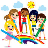 Children Drawing Rainbow Royalty Free Stock Photography