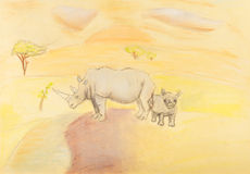 Children drawing - rhinoceros with baby rhino Royalty Free Stock Image