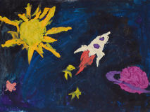 Children drawing rocket flying in space Stock Image