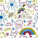 Children drawing seamless pattern Royalty Free Stock Photos