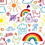 Children drawing seamless pattern. Children's painting background, a child's drawing seamless pattern Stock Photo