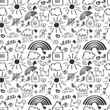 Children drawing seamless pattern Stock Photos
