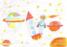 Children drawing space planet rocket Royalty Free Stock Images