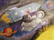 Children drawing space planet rocket stock photo