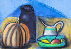 Children drawing - still life with jugs and pumpkin Royalty Free Stock Image