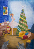 Children Drawing `The Nutcracker` Stock Image