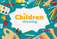 Children drawing white list background, banner Stock Photo
