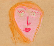 Children drawing - woman full face Stock Photo