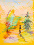 Children drawing - woman in yellow autumn forest Stock Photo